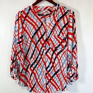 Halogen Blouse Geometric Button Up Roll Tab Sleeve